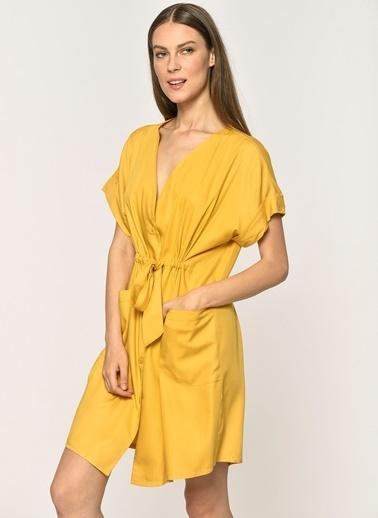 Loves You Düğmeli Beli Büzgülü Cepli Viskon Elbise Hardal